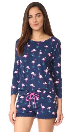 Игривый пижамный топ PJ Salvage. Цвет: темно-синий