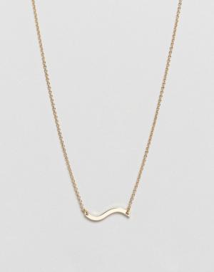 Weekday Золотистое ожерелье с подвеской-волной. Цвет: золотой