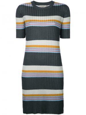 Полосатое платье ребристой вязки Maison Kitsuné. Цвет: многоцветный