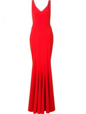 Длинное платье Ronnie Zac Posen. Цвет: красный