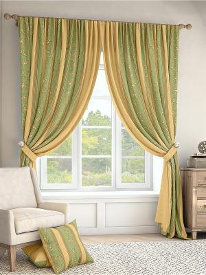 Комплект штор Лекс ТОМДОМ. Цвет: зеленый, золотистый