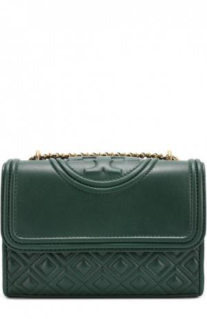 Кожаная сумка Fleming small на цепочке Tory Burch. Цвет: зеленый