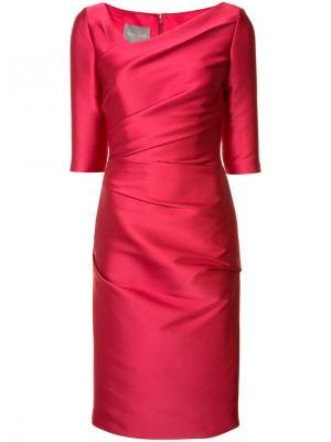 Платье с асимметричным вырезом Monique Lhuillier. Цвет: красный