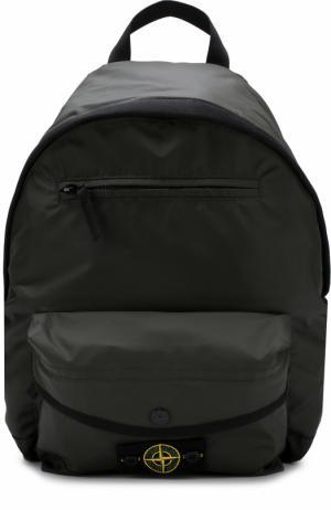Текстильный рюкзак с нашивкой Stone Island. Цвет: хаки