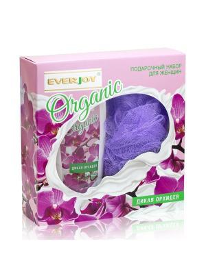 Подарочный набор EVERJOY ORGANIC Дикая Орхидея, жен (мочалка д/тела + гель д/душа 250ml). Цвет: фиолетовый