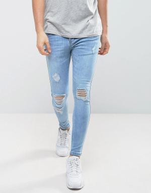 SikSilk Обтягивающие джинсы с дырками на коленях. Цвет: синий