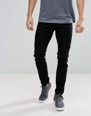 Voi Jeans Байкерские джинсы скинни. Цвет: черный