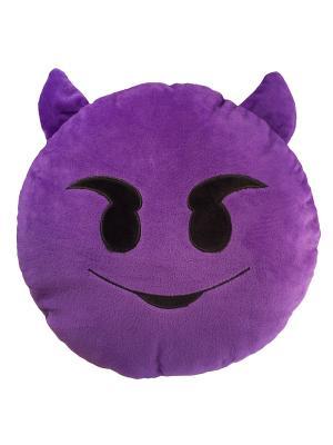 Подушка-смайлик Чёртик (emoji) SOXshop. Цвет: темно-фиолетовый