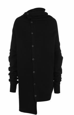 Шерстяной свитер асимметричного кроя Yohji Yamamoto. Цвет: черный