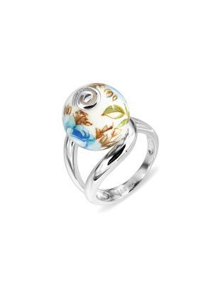 Кольцо Японские цветы. Цвет: серебристый