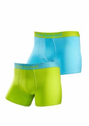 Боксерские трусы, 2 штуки BRUNO BANANI. Цвет: лазурно-синий/зеленый неоновый