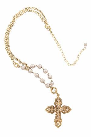 Крест с жемчужинами и кристаллами (90-е) R. J. Graziano Vintage. Цвет: золотой
