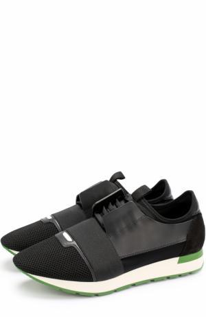 Комбинированные кроссовки Race на шнуровке с эластичной вставкой Balenciaga. Цвет: черный