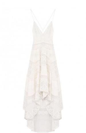 Льняное платье асимметричного кроя с открытой спиной Zimmermann. Цвет: кремовый
