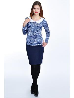 Блузка RISE. Цвет: темно-синий, белый