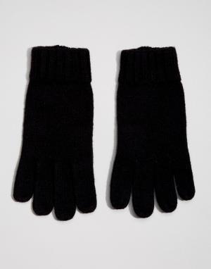 Dents Полушерстяные перчатки с кожаной вставкой на ладонях. Цвет: черный