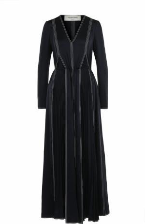 Приталенное платье с длинным рукавом и V-образным вырезом Valentino. Цвет: темно-синий