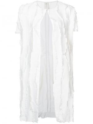 Однобортное пальто Zero + Maria Cornejo. Цвет: белый