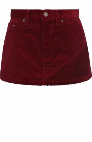 Вельветовая мини-юбка с карманами Marc Jacobs. Цвет: бордовый