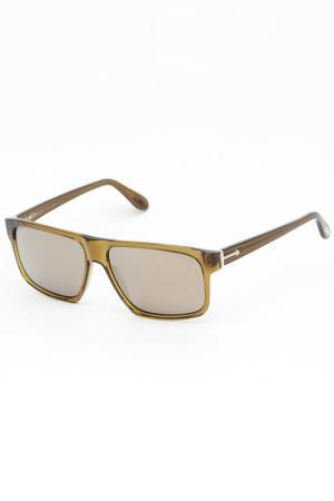 Очки солнцезащитные Trussardi. Цвет: оливковый
