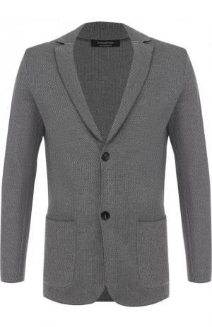 Однобортный пиджак из шерсти Ermenegildo Zegna. Цвет: серый