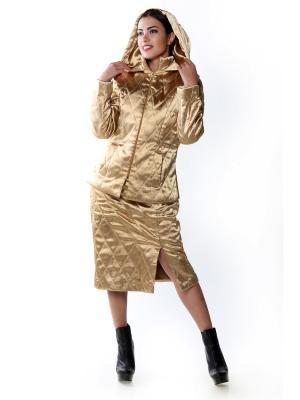 Костюм теплый стеганый Атласное Золото юбка и куртка SEANNA. Цвет: золотистый