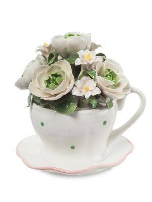 Статуэтка Чашка с цветами Pavone. Цвет: белый, зеленый
