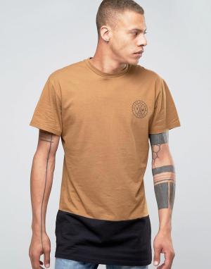 Friend or Faux Длинная футболка со вставкой Militia. Цвет: коричневый