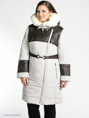 Пальто D`imma. Цвет: светло-серый, темно-коричневый