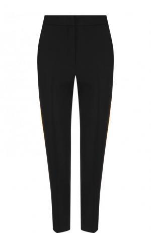Укороченные брюки с контрастными лампасами MSGM. Цвет: черный
