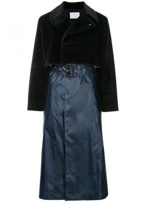 Пальто с контрастной отделкой Toga Pulla. Цвет: чёрный