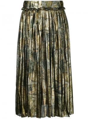 Плиссированная юбка металлик Maison Margiela. Цвет: металлический