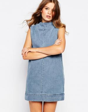 Waven Джинсовое платье с высоким воротом Ditte. Цвет: синий