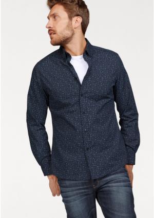 Рубашка BRUNO BANANI. Цвет: темно-синий с цветочным рисунком