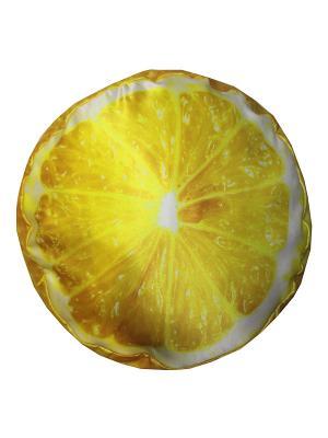 Подушка-ПУФ объемная, принт Лимон Dorothy's Нome. Цвет: желтый