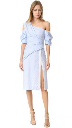 Платье-халат с открытым плечом J. Mendel. Цвет: синий/цвет слоновой кости