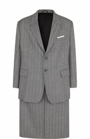Однобортное шерстяное пальто Neil Barrett. Цвет: серый