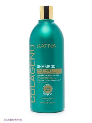 Коллагеновый шампунь KATIVA для всех типов волос COLAGENO, 500 мл. Цвет: бирюзовый