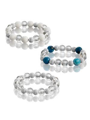 Комплект браслетов с синим агатом, белым агатом и хрусталем L'ATTRICE. Цвет: синий, белый, прозрачный