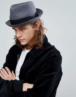 ASOS Темно-серая шляпа с вмятиной на тулье. Цвет: серый