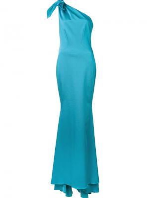 Длинное платье Melinda Zac Posen. Цвет: синий