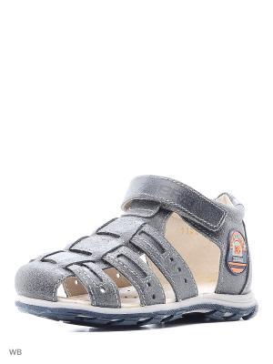 Туфли открытые Зебра. Цвет: серый