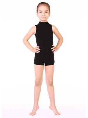 Купальник гимнастический шортиками Chersa. Цвет: черный