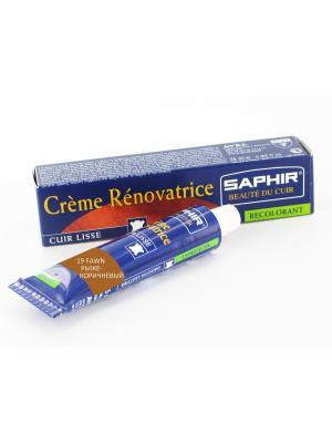 Восстановитель кожи Creme RENOVATRICE, 25 мл. (жидкая кожа)(19 рыже-коричневый ) Saphir. Цвет: светло-коричневый