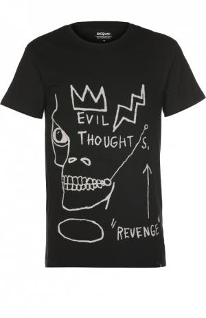 Хлопковая футболка с принтом Elevenparis. Цвет: черный