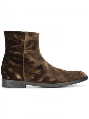 Ботинки-челси из жатого бархата Ann Demeulemeester. Цвет: коричневый