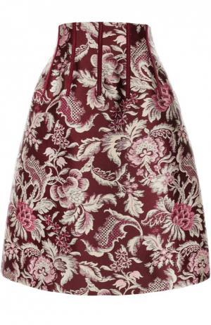 Юбка-миди с завышенной талией и цветочным принтом Oscar de la Renta. Цвет: бордовый