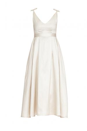 Платье из шелка с поясом 170704 Villa Turgenev. Цвет: бежевый
