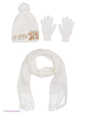 Шапка;  шарф; перчатки Krife. Цвет: белый