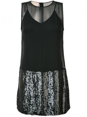 Платье шифт с пайетками Loyd/Ford. Цвет: чёрный